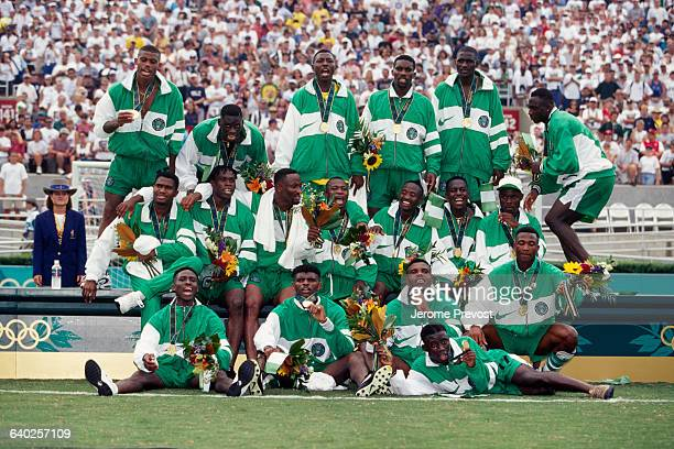 Nigerian players celebrate their 3-2 victory over Argentina in the men's final of the 1996 Olympics.
