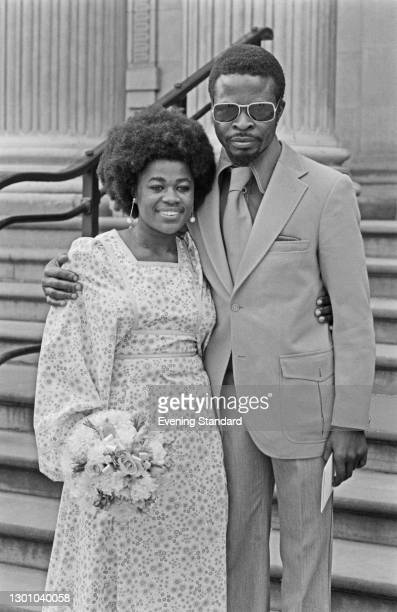 Nigerian playwright and actor Yemi Ajibade marries actress and poet Ebony White in London, UK, 31st May 1973.