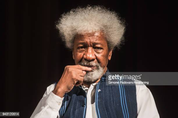 Nigerian playwright poet and essayist Nobel prize in literature Wole Soyinka attends a photocall during Incroci di Civiltà International Literature...