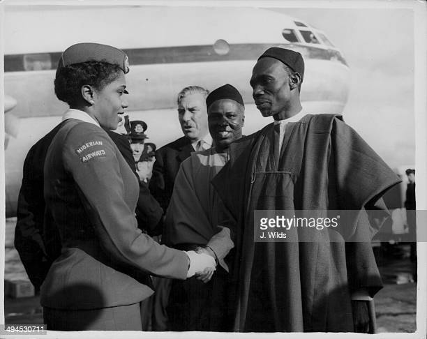 Nigerian politician Abubakar Tafawa Balewa arriving at London Airport following his visit to Britain London October 1st 1958