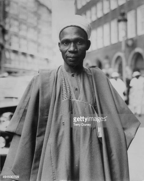 Nigerian politician Abubakar Tafawa Balewa arriving at the Colonial Office to meet Lennox Boyd in London September 17th 1959