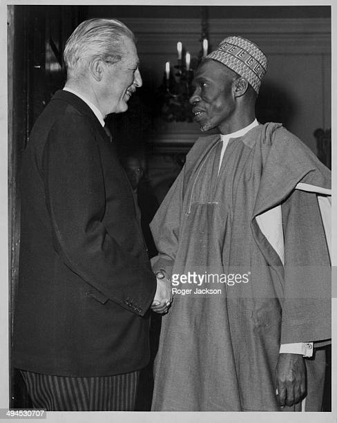 Nigerian politician Abubakar Tafawa Balewa meeting British Prim Minister Harold Macmillan at Admiralty House London September 6th 1962