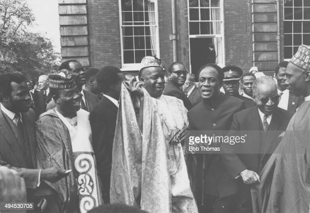 Nigerian politician Abubakar Tafawa Balewa with his delegates in the grounds of Marlborough House Westminster London circa 1960