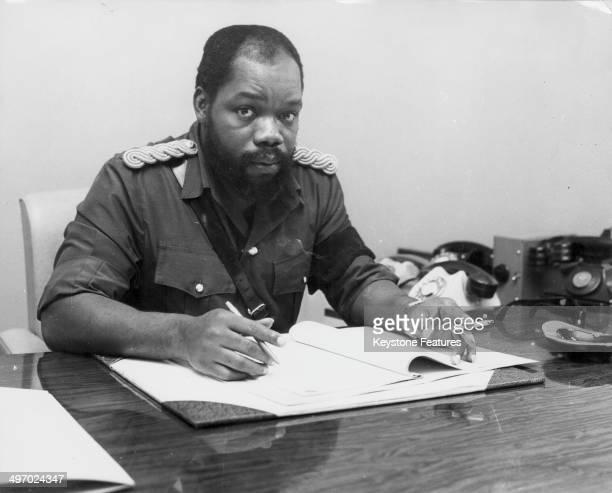 Nigerian politician Odumegwu Ojukwu at his desk circa 19671970