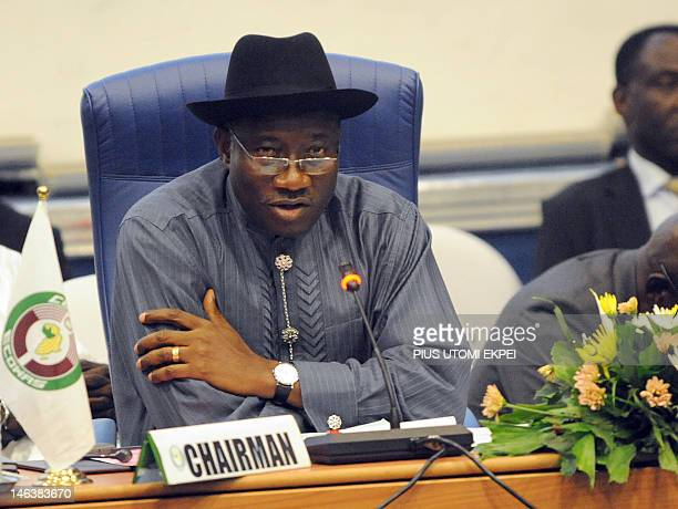 Nigerian President and Economic Community of West African States chairman Goodluck Jonathan speaks during the summit of the ECOWAS Heads of States...