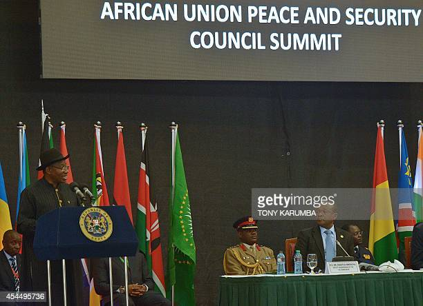 Nigerian President Goodluck Jonathan addresses the opening of the African Union Peace and Security Summit in Nairobi on September 2 2014 African...