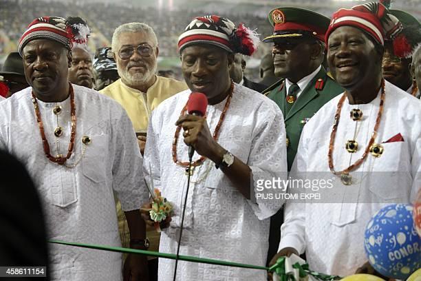 Nigerian President Goodluck Jonathan Ghanaian President John Mahama former Ghanaian President Jerry Rawlings and Ivorian President Alassane Ouattara...