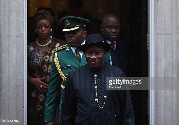 Nigerian President Goodluck Jonathan leaves Number 10 Downing Street after meeting with British Prime Minister David Cameron on February 11 2013 in...