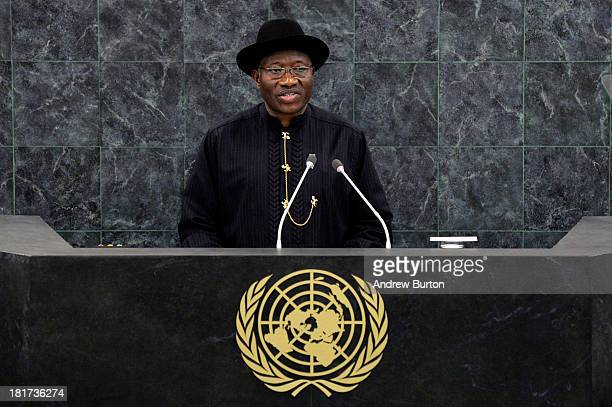 Nigerian President Goodluck Jonathan speaks at the 68th United Nations General Assembly on September 24 2013 in New York City Over 120 prime...