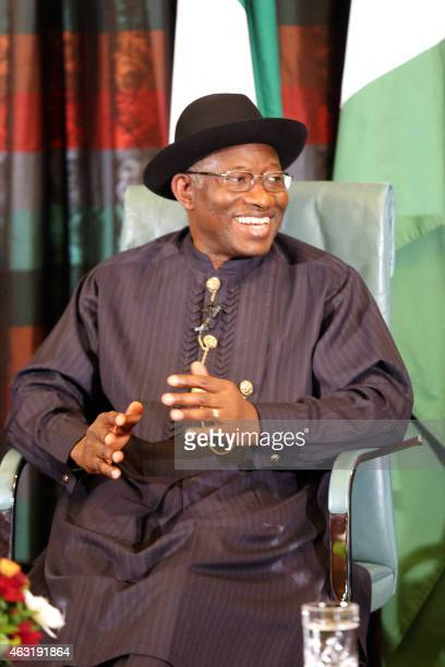 Nigerian President Goodluck Jonathan speaks during nationally broadcast interview with journalists in Abuja on February 11 2015 Nigerian President...