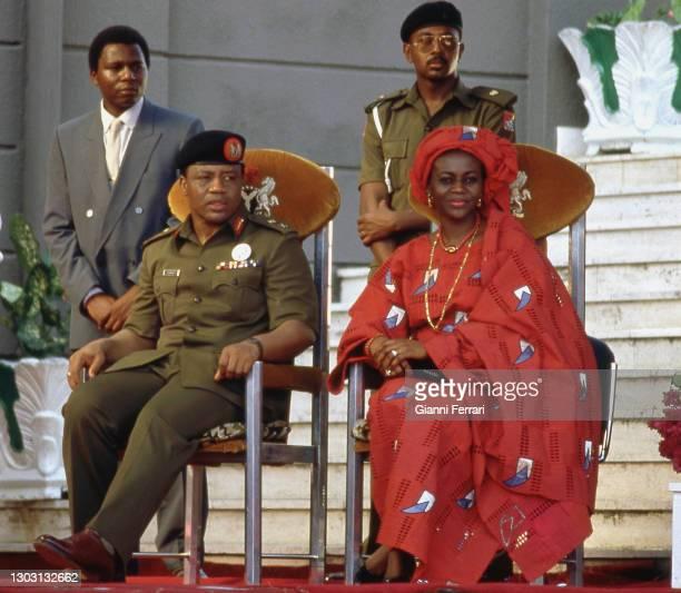 Nigerian President Ibrahim Babangida with his wife, Abuja, Nigeria, 1987.