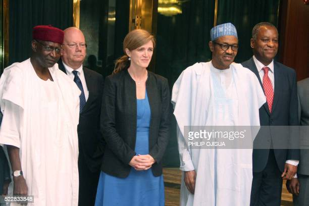 Nigerian President Mohammadu Buhari poses in a group photograph with US Permanent Representative to the United Nations Samantha Power while Chief of...