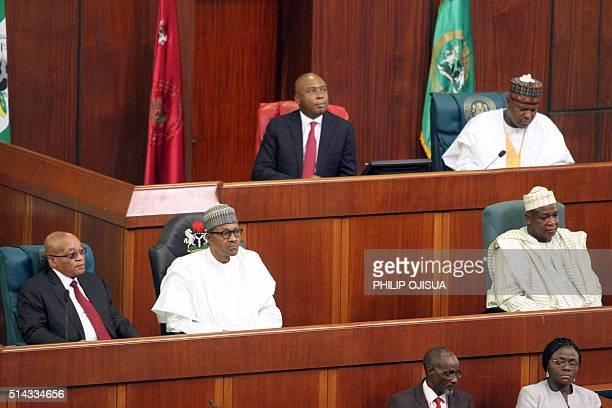 Nigerian President Muhammadu Buhari and South Africa President Jacob Zuma along with Senate President Bukola Saraki Speaker of the House of...
