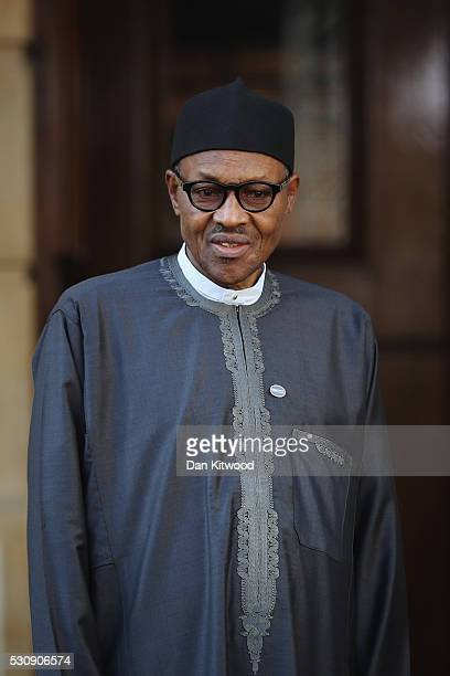 Nigerian President Muhammadu Buhari arrives at Lancaster House for the international anticorruption summit on May 12 2016 in London England Leaders...