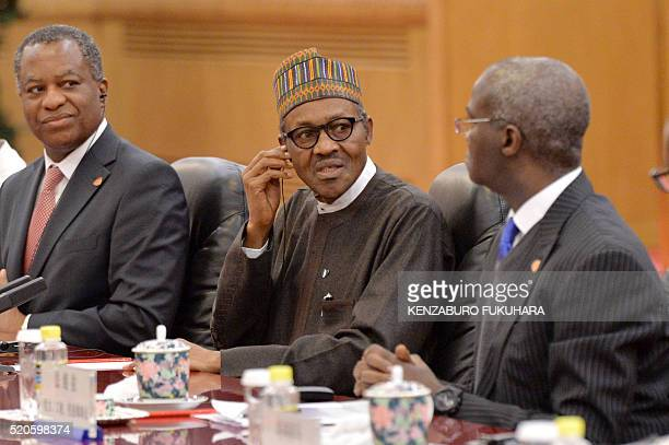 Nigerian President Muhammadu Buhari attends a meeting with Chinese President Xi Jinping at the Great Hall of the People in Beijing on April 12 2016...