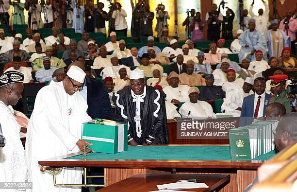 Nigerian President Muhammadu Buhari submits his budget for 2016 to the Senate chamber in Abuja on December 22 2015 Nigerian President Muhammadu...