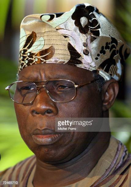 Nigerian President Obasanjo attends a joint press conference with Dutch Prime Minister Wim Kok March 12 2002 in The Hague Netherlands Obasanjo is on...