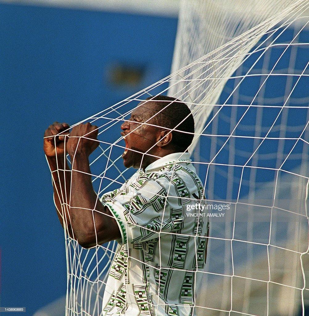 Nigerian Rashidi Yekini screams 21 June  : News Photo
