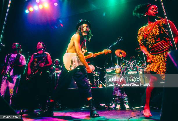 Nigerian reggae singersongwriter and musician Majek Fashek performs with his band at The Ritz New York New York August 25 1992