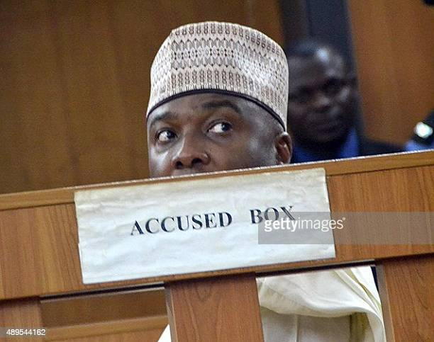 Nigerian Senate President Bukola Saraki sits in the accused box during a hearing of corruption charges against him at Code of Conduct tribunal in...