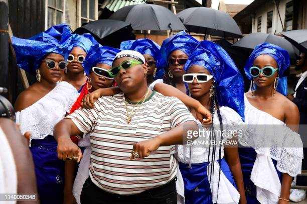 Nigerian singer and entertainer Teniola Apata aka Teni takes part in a video shoot for a music video in Lagos on April 20 2019 A selfdeclared...