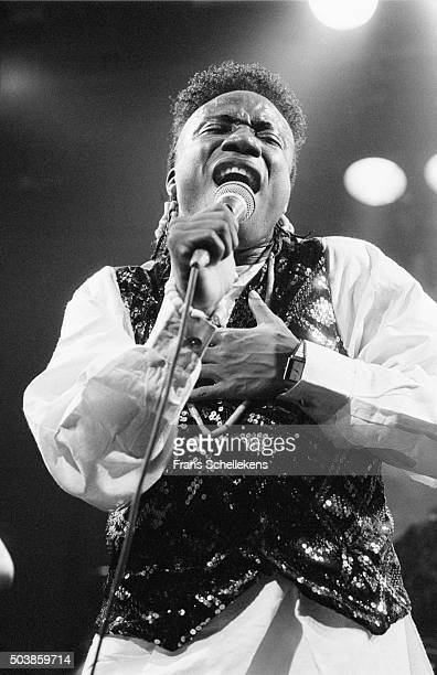 Nigerian singer Mike Okri performs on May 31st 1991 at the Melkweg in Amsterdam, the Netherlands.