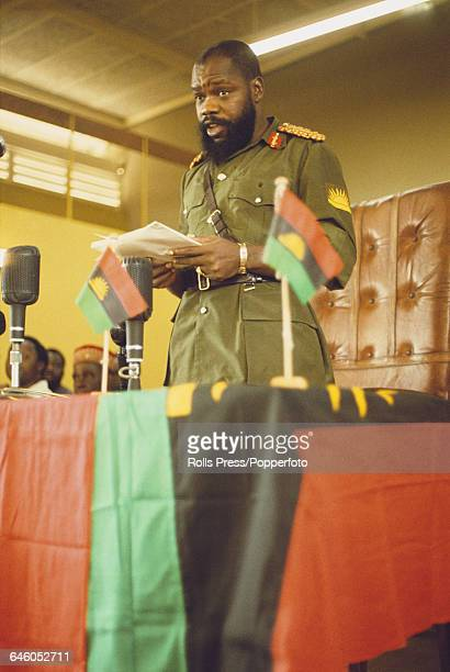 Nigerian soldier and leader of the breakaway Republic of Biafra C Odumegwu Ojukwu pictured delivering a speech at a press conference in Biafra state...