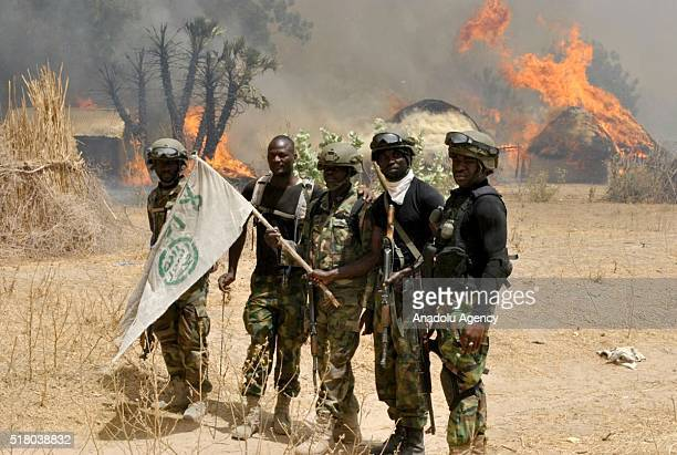 Nigerian soldiers are seen after an operation against Boko Haram terrorists at a terrorist camp in Borno, Nigeria on March 29, 2016.