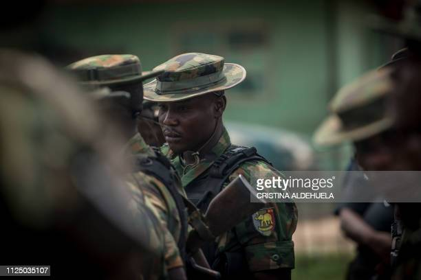 Nigerian soldiers hold a military meeting after patrolling Aba a city in southern eastern Nigeria and a stronghold for probiafran separatists during...