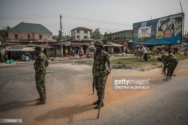 Nigerian soldiers in Aba a city in southern eastern Nigeria and a stronghold for probiafran separatists during a military patrol on February 15 one...