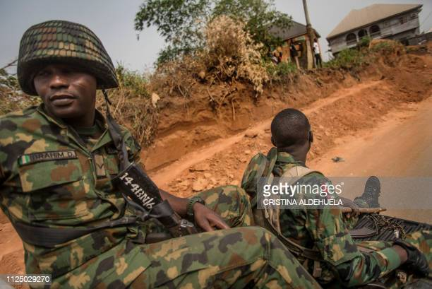 Nigerian soldiers patrol Aba city in a proBiafra separatists zone southeastern Nigeria on February 15 2019 during a military patrol The southeastern...