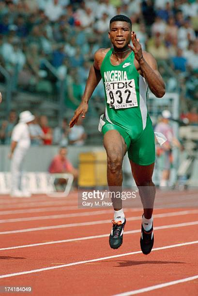 Nigerian sprinter Daniel Effiong competing in the Men's 200 metres event at the IAAF World Championships in Athletics at the Gottlieb-Daimler-Stadion...