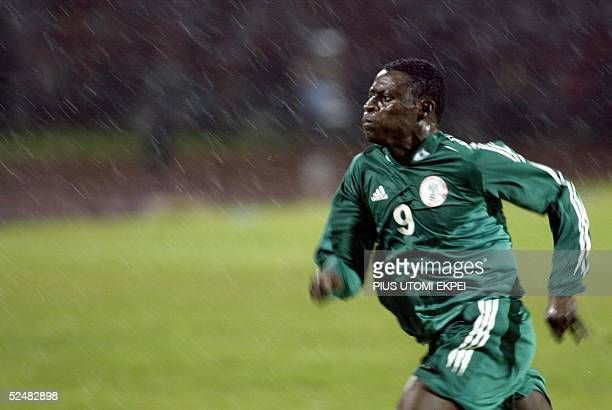 Nigerian striker Obafemi Martins runs after a ball in the Gabonese half 26 March 2005 in an African zone World Cup 2006 and Nations Cup qualification...