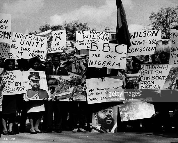 Nigerian students at a Biafran War protest rally at Speaker's Corner Hyde Park London