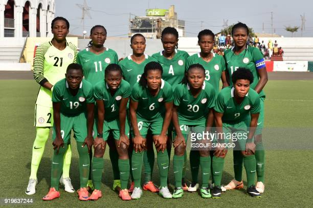 Nigerian team players pose prior to a match between between Senegal and Nigeria in the first Union des Federations OuestAfricaines de Football zone B...