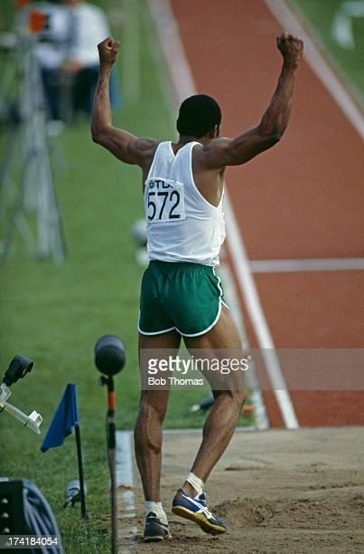 Nigerian triple jumper Ajayi Agbebaku competing at the IAAF World Championships in Athletics at the Olympic Stadium in Helsinki Finland August 1983...