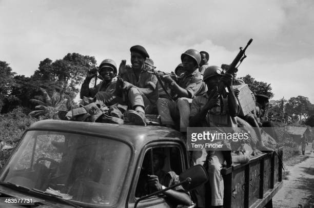 Nigerian troops in the back of a truck on their way to Port Harcourt during the conflict with Biafran forces Nigeria 19th May 1968