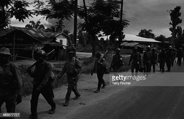 Nigerian troops marching at Port Harcourt during the conflict with Biafran forces Nigeria 19th May 1968