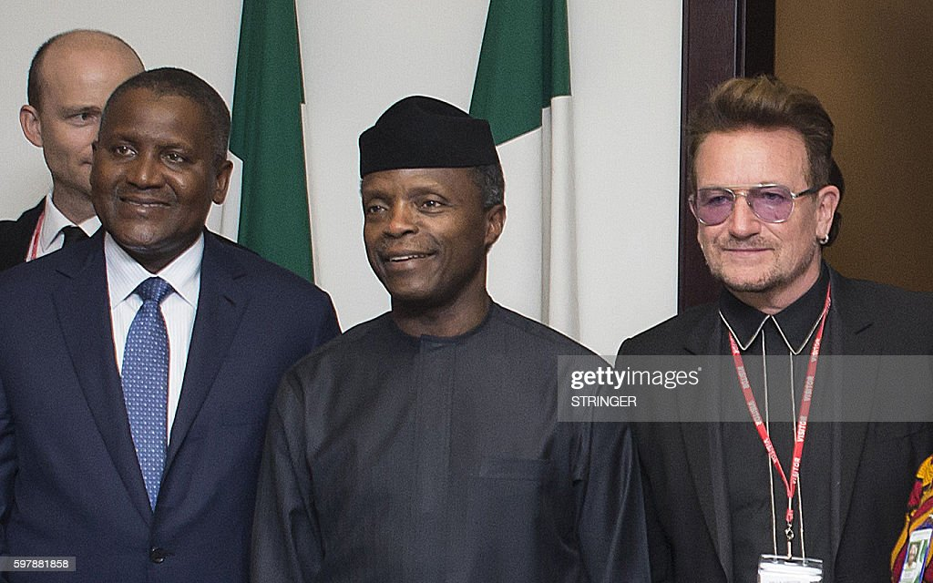 Nigerian Vice President Yemi Osinbajo flanked by Africa's richest