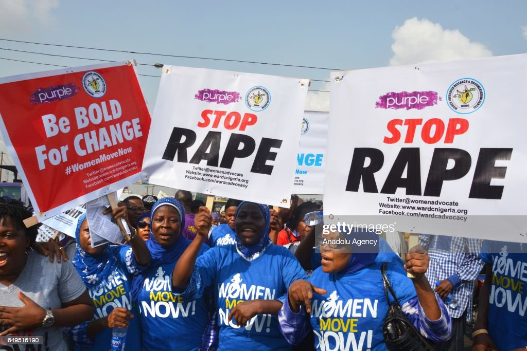 Image result for Nigerian women protest against violation and sexual abuse during the World International Women's Day in Lagos, Nigeria. (Stringer/Anadolu Agency/Getty Images)