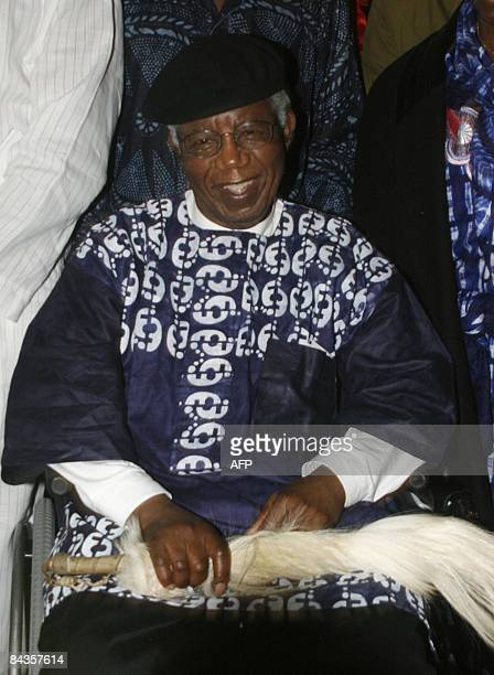 Nigerian writer Chinua Achebe is pictured on January 19 2009 during a welcoming ceremony at Nnamdi Azikiwe International Airport in Abuja upon his...