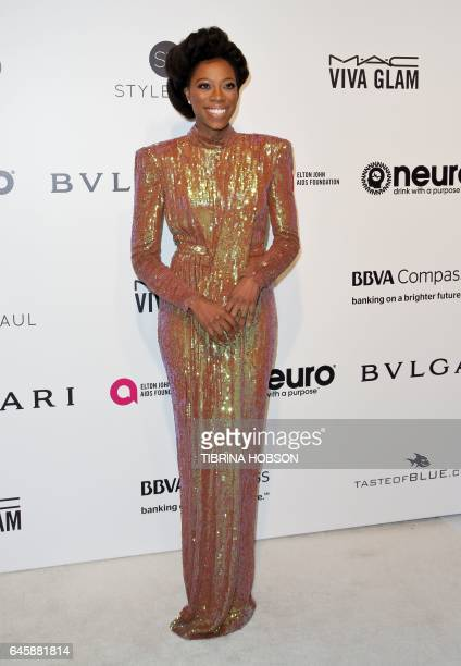 NigerianAmerican actress Yvonne Orji poses upon her arrival for the 25th annual Elton John AIDS Foundation's Academy Awards Viewing Party on February...
