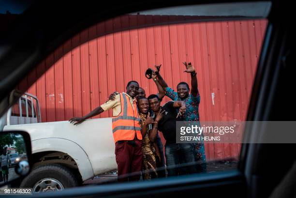 Nigerians celebrate in the streets of Lagos on June 22 2018 after Nigeria won the Russia 2018 World Cup Group D football match against Iceland Ahmed...
