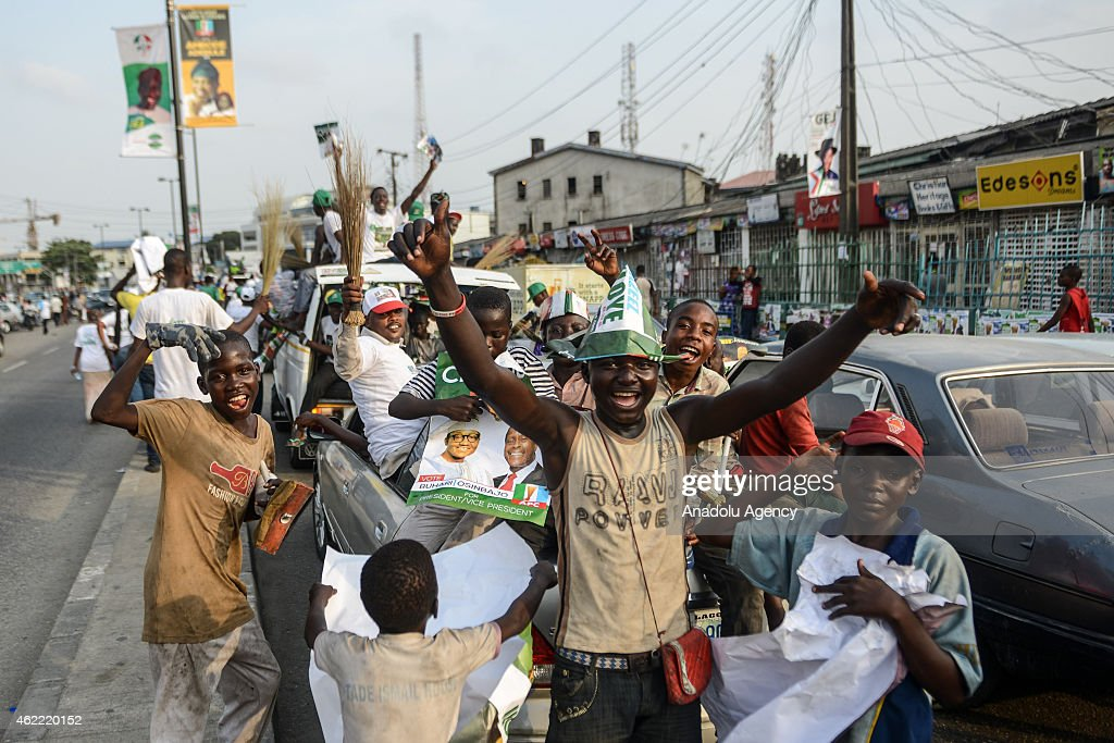 Nigerians gather to support presidential candidate Muhammadu Buhari ahead of the Nigerian presidential elections which will be February 14, in Lagos, Nigeria, on January 25, 2015.