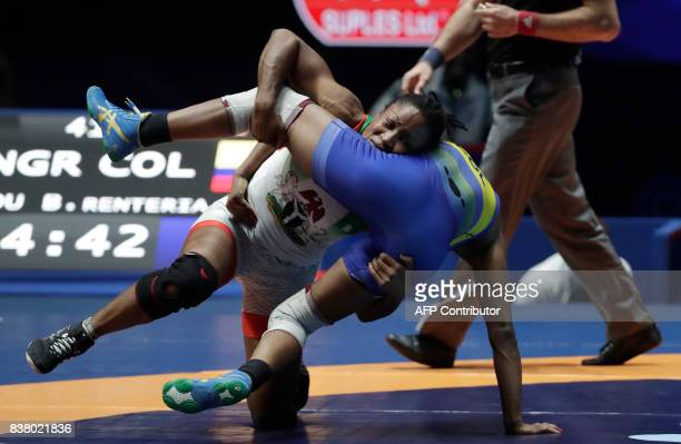 Nigeria's Blessing Oborududu competes for the bronze medal against Colombia's Jackeline Renteria Castillo during the women's freestyle wrestling 63kg...