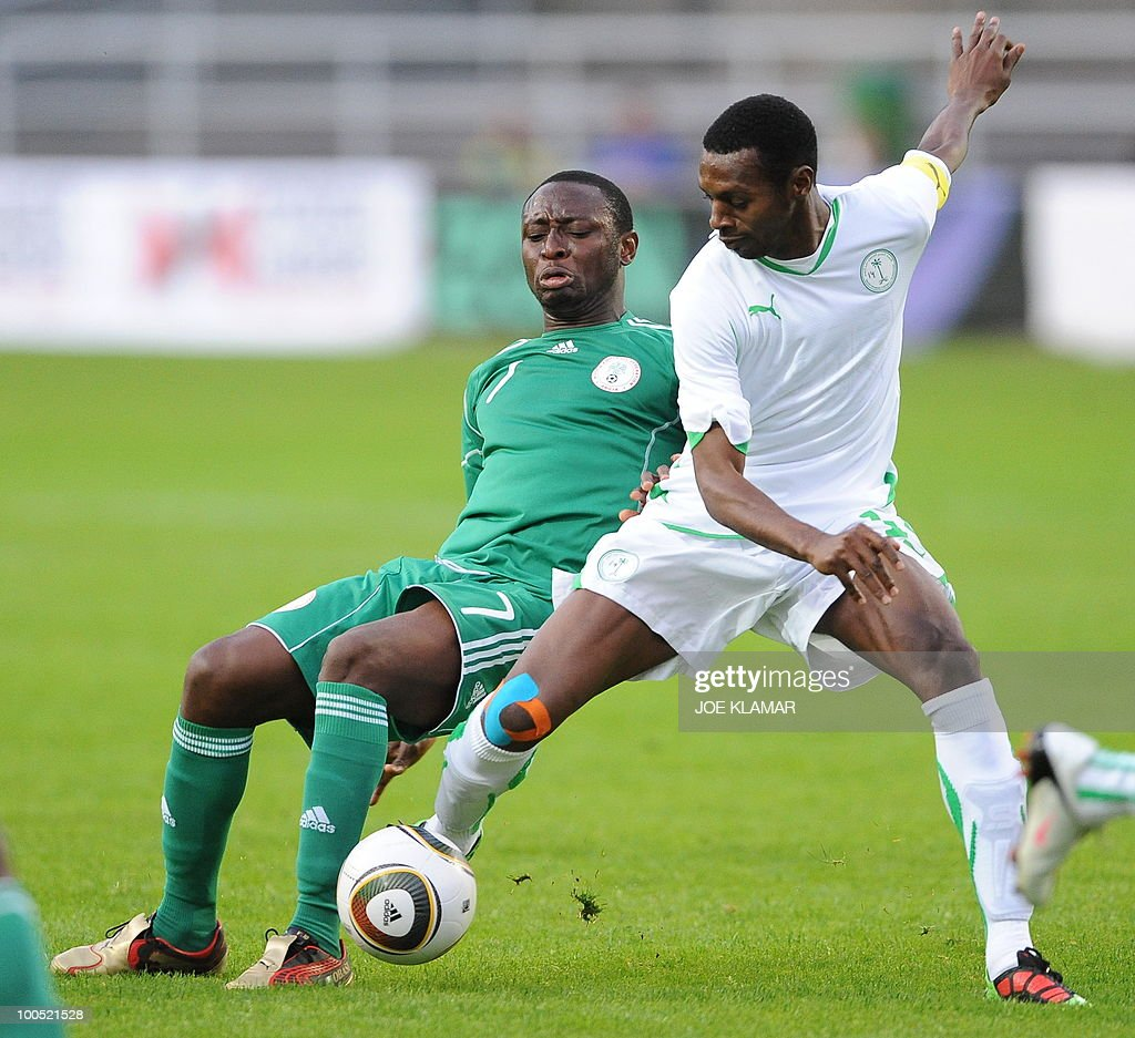 Nigeria's Chinedu Obasi (L) and Saudi Arabia's Saud Ali Kariri fight for the ball during their friendly match between Saudi Arabia and Nigeria in Alpen stadium in Tyrolian Wattens on 25 May 2010 prior to the FIFA World Cup 2010 hosted by South Africa.i