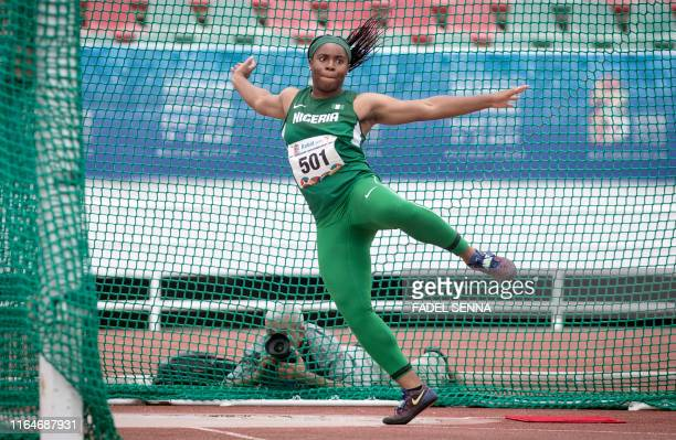 Nigeria's Chioma Ajunwa competes during the Women's Discus Throw at the 12th edition of the African Games in Rabat on August 29 2019