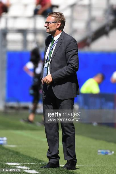 Nigeria's coach Thomas Dennerby stands on the side of the pitch during the France 2019 Women's World Cup Group A football match between Nigeria and...