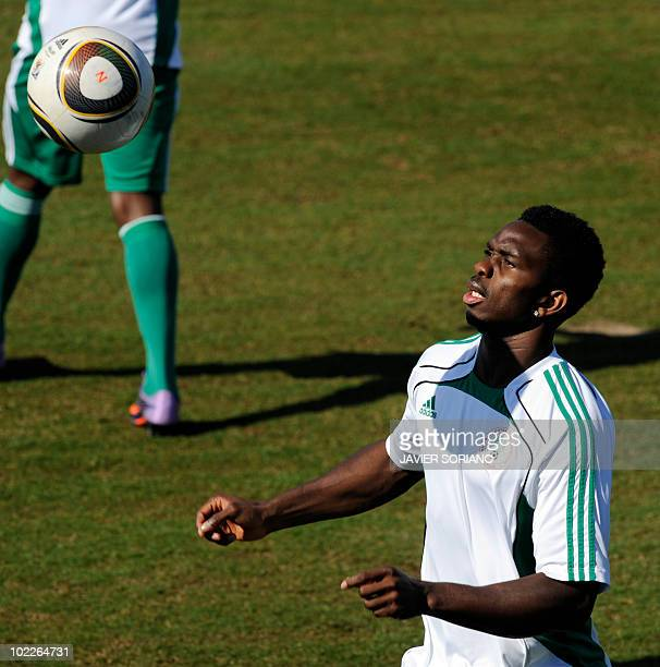 Nigeria's defender Ayodele Adeleye takes part in a training session at Umhlathuze Sports Complex in Richards Bay 160kms north of Durban on June 21...