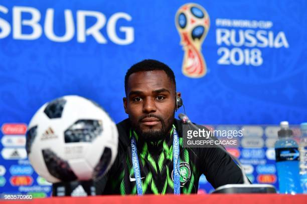 Nigeria's defender Brian Idowu speaks during a press conference at the Saint Petersburg Stadium in Saint Petersburg, on June 25, 2018 on the eve of...